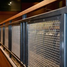 Banker Wire's Mesh in interior railing and stairways at the Club Regent Event Centre. Porch Railing Kits, Porch Railing Designs, Balcony Railing Design, Staircase Design, Metal Railings, Deck Railings, Loft Railing, Metal Gates, Industrial Stairs