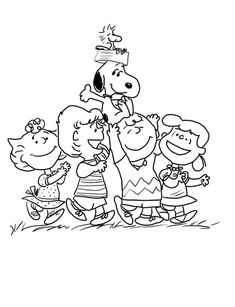 Snoopy with the Peanuts Gang Coloring page | COLORING BOOKS ...