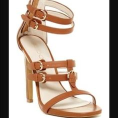 "Aldo heels Details: Sizing: True to size. B=regular width  - Open toe - Multi strap detail - Back zip closure - Approx. 4"" shaft height, 9.25"" opening circumference - Approx. 5"" heel - Imported Materials: Leather upper, manmade sole ALDO Shoes Heels"