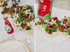 table decor using pasta as small vases?! so creative + fun!