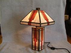 Stained Glass Lamp  Mission Style by SandECollectibles on Etsy, $75.95
