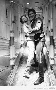 Carrie Fisher and Harrison Ford on the set of The Empire Strikes Back