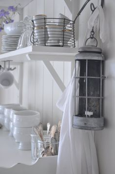 In the Kitchen...White washing your lantern and displaying to actually use it!