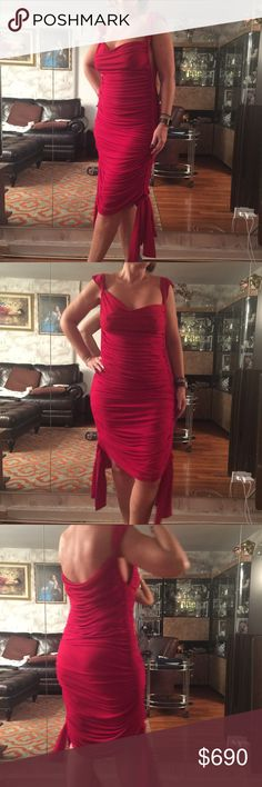Selling this Norma Kamari red sheered jersey cocktail dress L on Poshmark! My username is: rsveta. #shopmycloset #poshmark #fashion #shopping #style #forsale #Norma Kamali #Dresses & Skirts