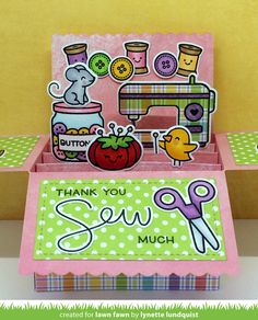 Today Lynette  shares an adorable  Sewn with Love  card! She included cute Elphie Selfie  critters on this delightful Scalloped Box Card Po...