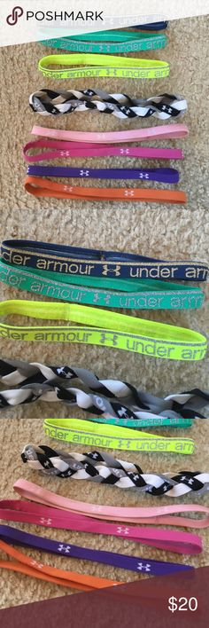 Under armour headbands Under armour headbands. The top 3 are thicker and have the no slip grip and are new. The ones below have been used. Under Armour Accessories Hair Accessories