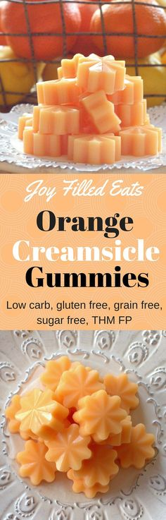 Orange Creamsicle Gummies - Joy Filled Eats Orange Creamsicles reminds me of being a kid on a hot summer day. These gummies capture those flavors and are low carb, gluten free, sugar free, & a THM FP. Gelatin Recipes, Sugar Free Recipes, Low Carb Recipes, Cooking Recipes, Water Recipes, Grilling Recipes, Healthy Recipes, Low Carb Candy, Low Carb Sweets