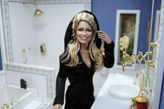 ttps://flic.kr/p/FJLvN8 | mascara tip | Freshening up!  Black Label Barbie of Farrah Fawcett as restyled and repainted by Noel Cruz of www.ncruz.com for www.myfarrah.com. Photographed in a Ken Haseltine Regent Miniatures Mansion Diorama for 1:6 scale figures (www.regentminiatures.com).  Visit:  www.myfarrah.com.