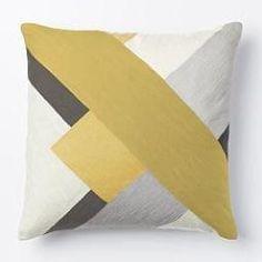 Crewel Modern Blocks Cushion Cover - Desert Marigold