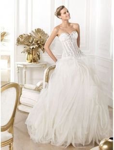 Tulle Sweetheart Ball Gown Wedding Dress with Semi-sheer Bodice PS0055