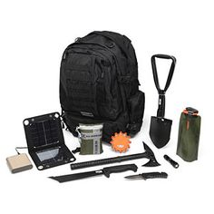 ThinkGeek :: ZD-873 Bug Out Bag Kit  M48 Tomahawk stainless steel axe,   SOGfari Tanto Minichete - 3Cr13 steel knife  SOG Entrenching Tool - steel shovel  Flashing Roadside compact light for signaling  Vapur Eclipse reusable water bottle  Folding Knife and Flashlight Combo,  Portable USB Battery Pack - 7000mAh - Provides 10+ hours of talk time on a smartphone, 2.1 amp output  5 Watt Solar Panel - recharge that battery pack from the sun,  M48 Kommando 24 Piece Ultimate Survival Kit