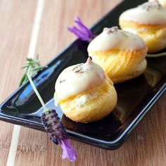 White Chocolate Cream Puffs with Lavender Recipe..Garden Party Sweets