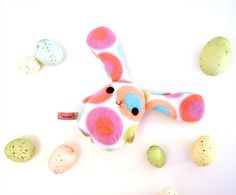 Eggbunny Pinkbelly, Easter rabbit bunny plush, blue, pink, green, purple, orange, white stuffed animal Muser
