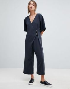 6ecd1ff555c ASOS Minimal Jumpsuit with Hook and Eye Detail Jumpsuit Dress