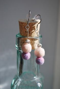Soft pink and pastel pink and purple needle felted earrings.  https://www.etsy.com/shop/ArtByBarks