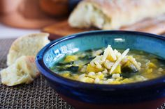 Delicata Squash Soup with Israeli Couscous and Spinach
