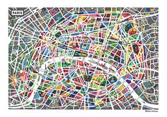 a heavily styled #map of #Paris, by Antoine Corbineau