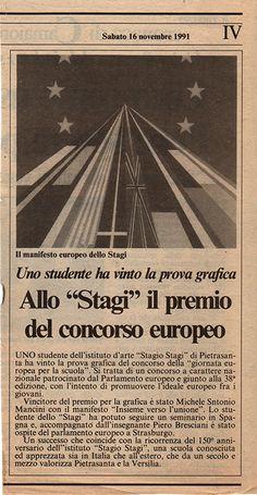 """Allo """"Stagi"""" il premio del concorso europeo: lo studente Michele Antonio Mancini ha vinto la prova grafica (""""Il Tirreno"""", 16.11.1991)"""