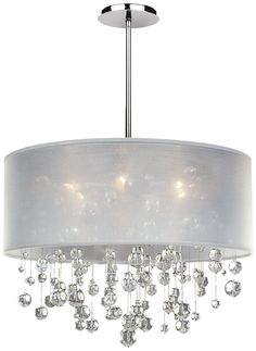 "Danube Crystal and White Shade 21"" Wide Pendant Chandelier 