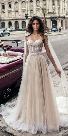 julie vino fall 2018 havana strapless sweetheart neckline heavily embellished bodice tulle skirt romantic soft a line wedding dress open back chapel train (6) mv #weddingdress