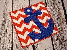 Anchor box embroidered fabric iron on by EmbellishmentJunkies, $6.50