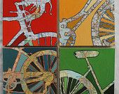 Bicycle Collection Four 12x12 Mounted bike map prints, bike gift, bicycle gift, bike art, bicycle art,   Holiday and Christmas Special -