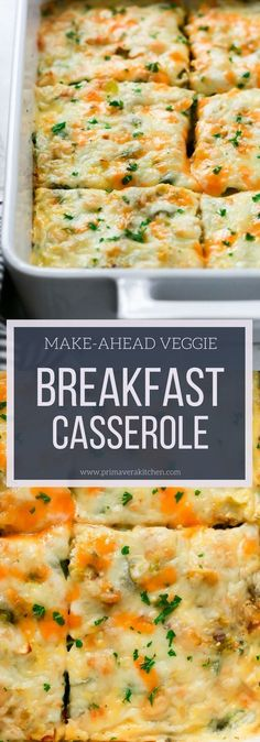 This Make-Ahead Veggie Breakfast Casserole is loaded with veggies, cheese, eggs, very easy to make and is a perfect healthy breakfast for morning! #breakfast #casserole #christmas #holidays