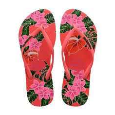 ec670730f9 Havaianas Slim Floral Flip Flops Coral - 11 12 Chinelos Havaianas