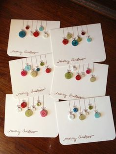 try with real buttons on woodOld buttons into ornament cards ♥Button christmas cards - so doableSouthern Fabric: 'tis the season for card giving.Handmade Christmas cards you can replicate Button Christmas Cards, Homemade Christmas Cards, Noel Christmas, Homemade Cards, Christmas Ornaments, Button Cards, Button Ornaments, Christmas Buttons, Christmas Place Cards