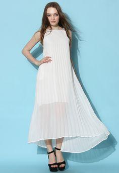 Chiffon Pleated Maxi Slip Dress in White - Retro, Indie and Unique Fashion