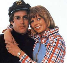 """Captain and Tennille - Love Will Keep Us Together, Muskrat Love, and other fun songs....she was always just a little """"too"""" happy on TV appearances and he never smiled. Looking back now, i guess they were a very odd music duo, but it worked back then."""