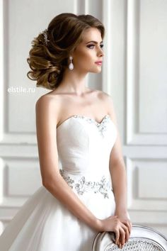Image result for hair styles for bride strapless gown