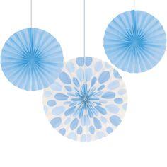 Light Blue Solid & Polka Dots Tissue Fans - 3 / pkg, 6 pkgs / case