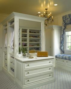 Blue and White Dressing Room