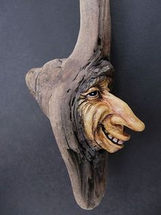 Original Wood Spirit Carving Man Gnome Tree Elf Wood Cabin Decor Rustic By Suzy