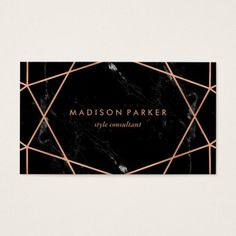 Modern Faux Rose Gold Geometric on Black Marble Business Card - Are you ready to take your business to the next level? Start with a new business card. Beauty Business Cards, Gold Business Card, Unique Business Cards, Business Card Design, Black And Gold Marble, Pink Marble, Visiting Card Design, Name Card Design, Event Poster Design