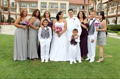 #gay wedding party with bridesmaids in grey dresses