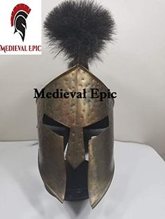 Hand Crafted Medieval 300 Movie King Leonidas Costume Spartan Helmet Black Plume Reproduction Medieval Epic