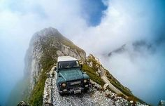 Land Rover Defender in -How is this for a spectacular road.