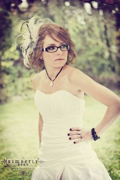 Wearing a veil with glasses??? :  wedding veil birdcage glasses contacts accessories Portrait 4ag7653