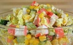 Salad of Crab Sticks. Bright juicy and delicious salad of crab sticks. Easy Salad Recipes, Avocado Recipes, Raw Food Recipes, Seafood Recipes, Food Network Recipes, Chicken Recipes, Cooking Recipes, Surimi Recipes, Lunch Recipes