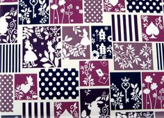 Silhouette of Alice in wonderland fabric
