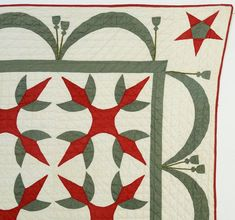 Turkey Tracks Quilt with Flags: Circa New York (item detailed views) Old Quilts, Antique Quilts, Turkey Tracks, Turkey Time, Green Quilt, Quilt Blocks, Red Green, Flags, New York