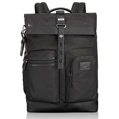 Men's Tumi 'Alpha Bravo - Luke' Roll Top Backpack ($409) ❤ liked on Polyvore featuring men's fashion, men's bags, men's backpacks, black, mens backpacks, mens leather backpack and mens laptop backpack