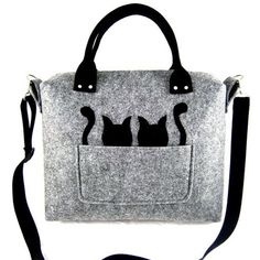 gray black cats strap, felt, kitties bags