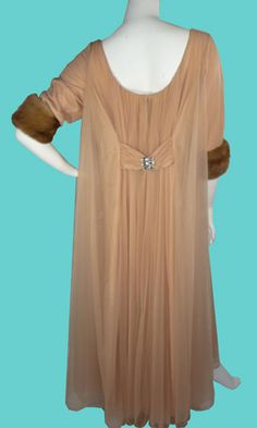 Back view of a 1960s Nude Chiffon hostess gown/robe with MINK cuffs!