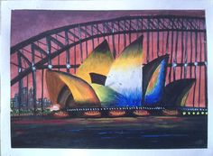 Post card painting of Sydney opera House.