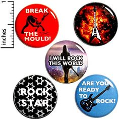 Rock N Roll Button Pack 5 Backpack Pins Break The Mould Rock Star Space Guitar Funny Buttons, Cool Buttons, Metal Buttons, Backpack For Teens, Teen Backpack, Bag Pins, Jacket Pins, Work Gifts, Cool Backpacks