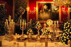 A holiday tablescape at Chatsworth House.