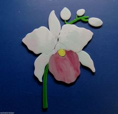 ORCHID FLOWER Precut Stained Glass Kit Mosaic Inlay. Many original designs selling on ebay. Mosaic Flowers, Stained Glass Flowers, Stained Glass Designs, Stained Glass Patterns, Stained Glass Windows, Mosaic Patterns, Mosaic Wall, Mosaic Glass, Fused Glass